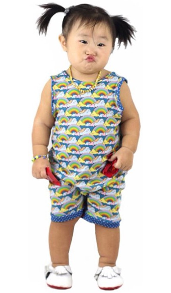 Rainbow Romper by  Lookie Loo Loo.