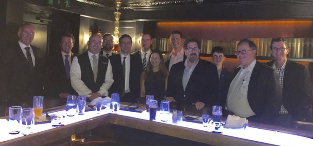 (L to R): Dr. John Ryan, Dr. John McKeon, Guinness Storehouse Host, Sean Gaffey, Senator Mark Daly, Jack Cline, Courtney Sunna, David Evans, Robin Shapiro, Liam Cuneo, Donard Gaynor, Colin Cuneo at a private dinner in the Guinness Storehouse