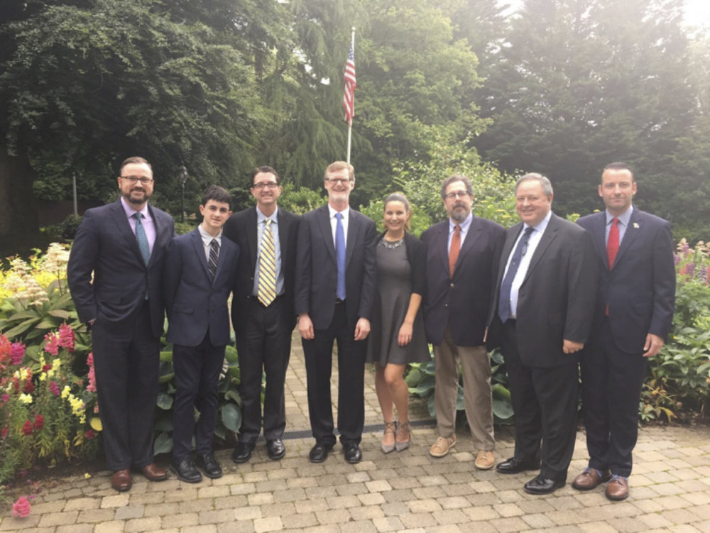 (L to R): Sean Gaffey, Liam Cuneo, Colin Cuneo, US Consul General Dan Lawton, Courtney Sunna, Robin Shapiro, Donard Gaynor, Jack Cline