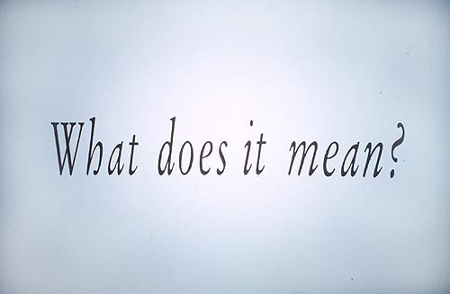 """What does it Mean"" Joseph Kosuth 1999"