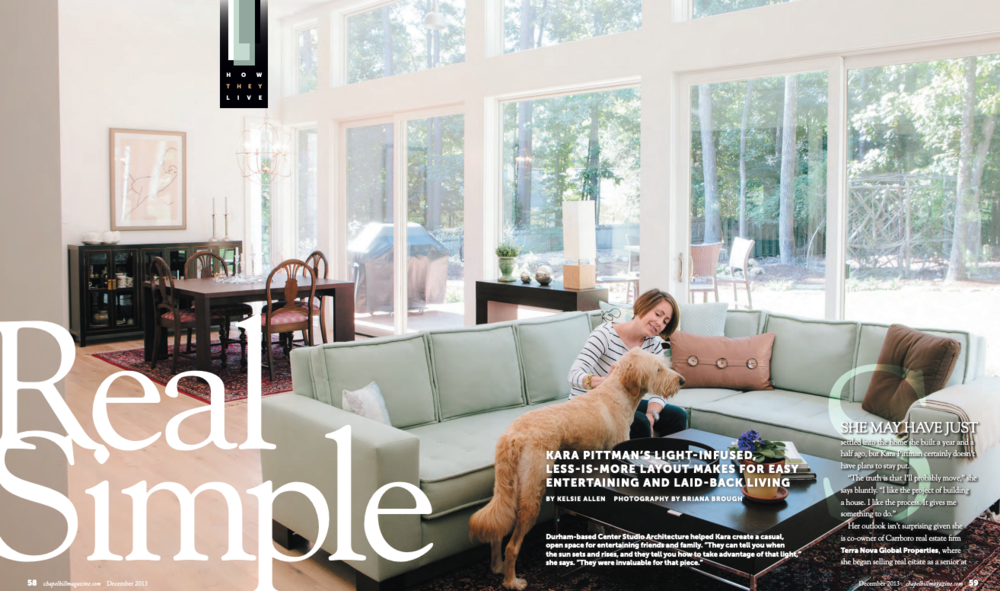 To see Kara's Home Tour in Chapel Hill Magazine, Click Here. -