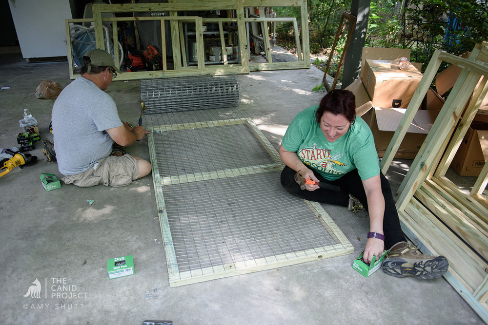Julie and Mike making enclosure frames