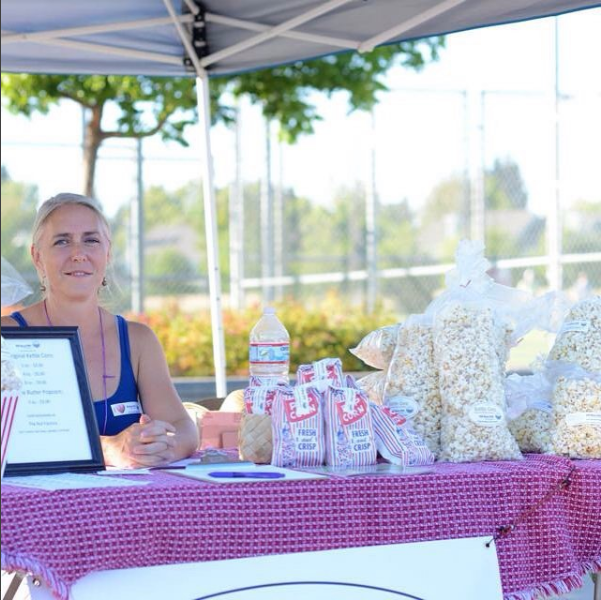 Kathleen Hackett, Founder POP Mama POP serving up artisan popcorn at the Super Bowl 50 celebration.