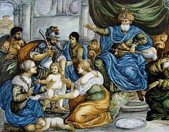 The Judgment of Solomon, painting on ceramic, Castelli, 18th century, Lille Museum of Fine Arts