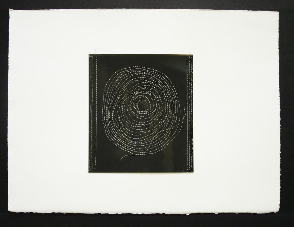 "Circle 2, 11.5""x15"", Archival digital photograph, paper, silk thread, 2014"