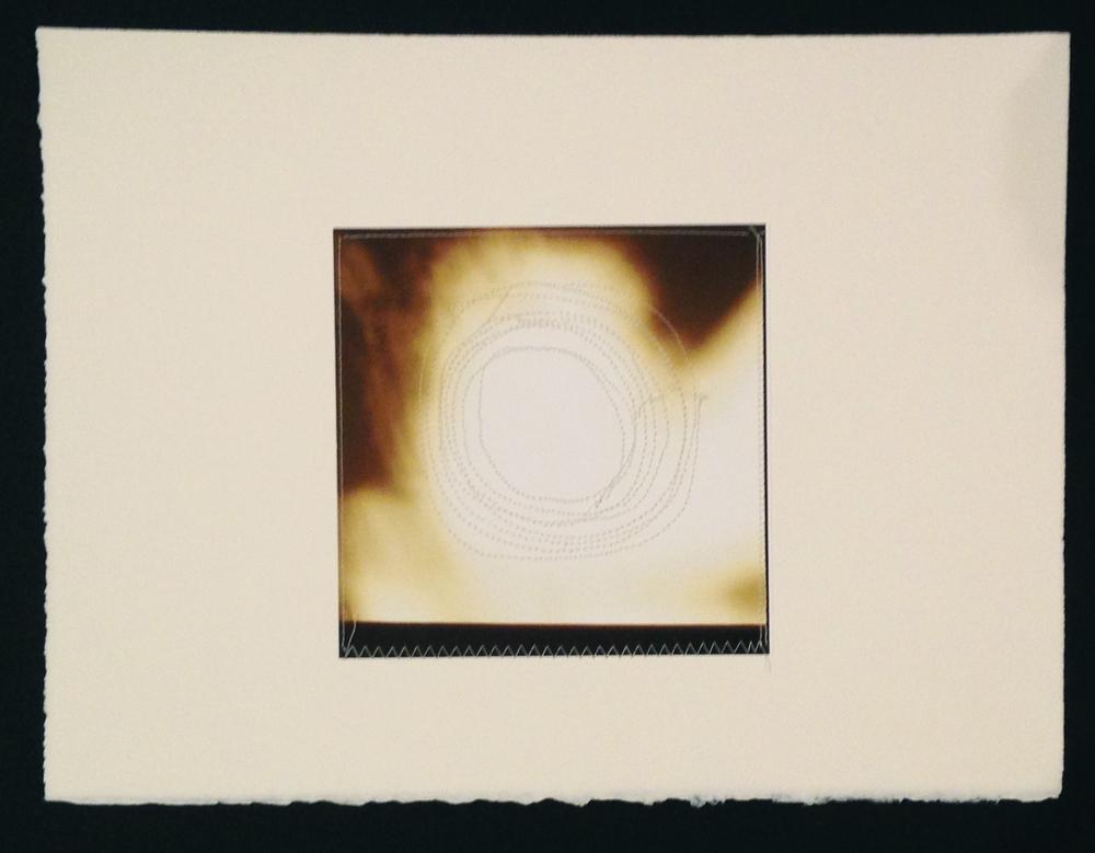 "Circle 3, 11.5""x15"", Archival digital photograph, paper, silk thread, 2014"