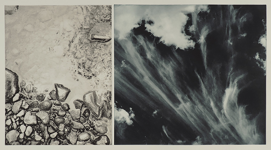 "Fall/Clouds, duo-tone photogravure, ed. of 3. 30""x22"", 2018"