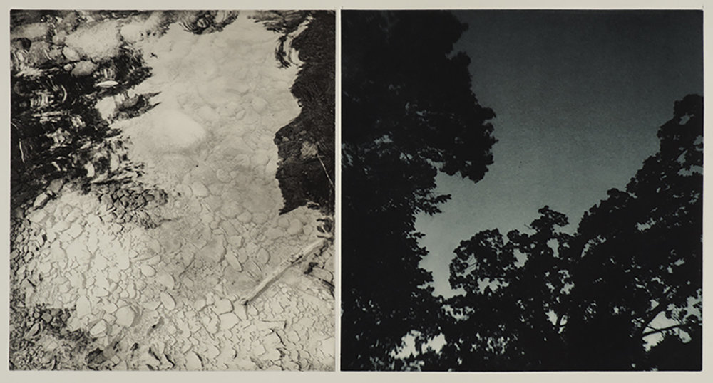 "River/Nightsky, duo-tone photogravure, ed. of 3. 30""x22"", 2018"
