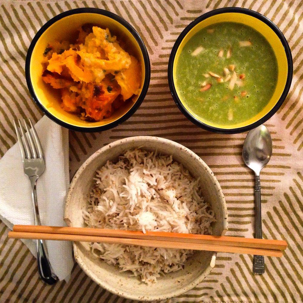 lebanese rice pilaf, asparagus soup, sweet potatoes.JPG