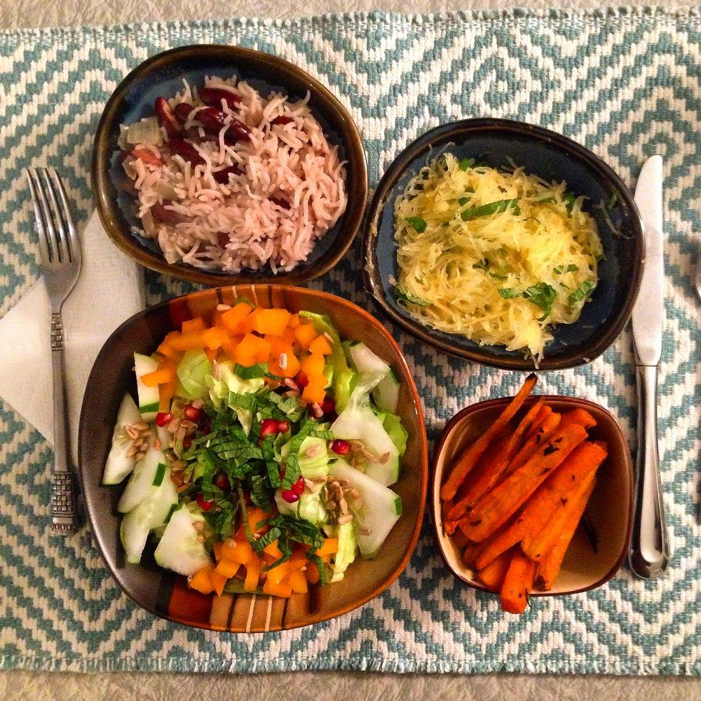 jamaican rice and beans, spaghetti squash, salad, carrots-insta.JPG