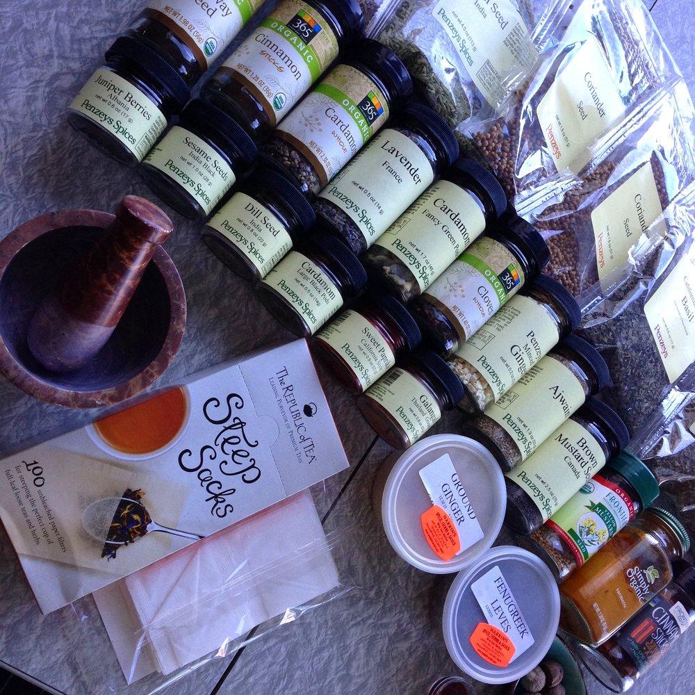 spices, spice grinder, tea bags.jpg