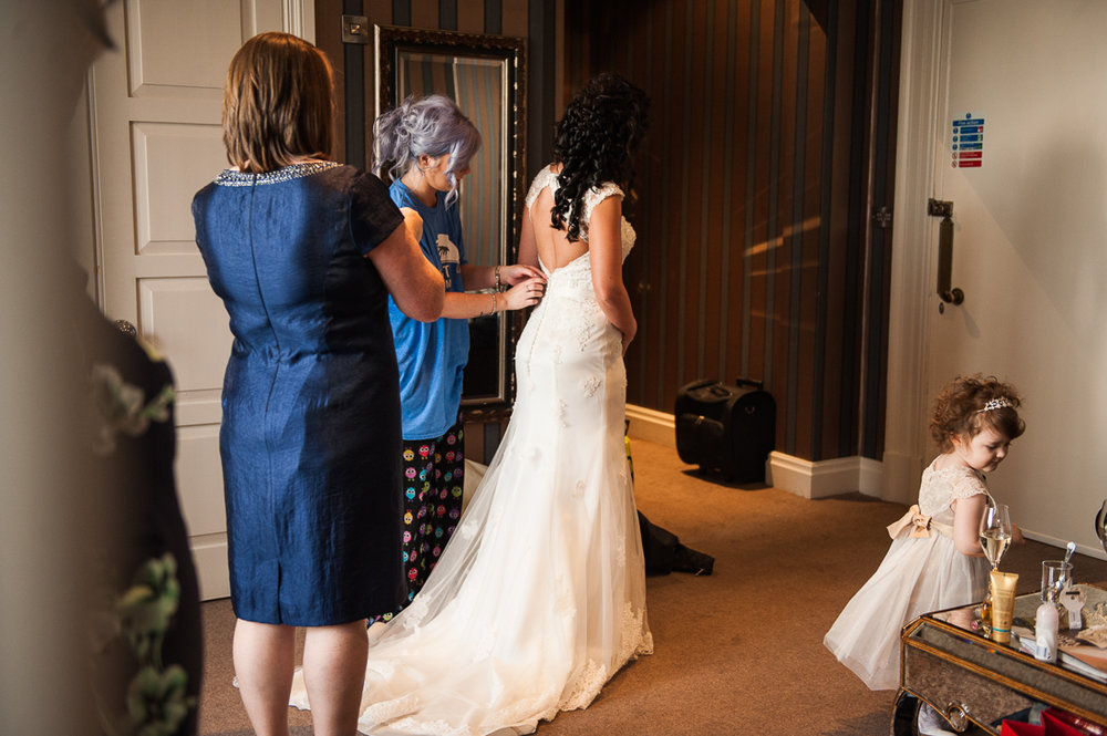Bridal party getting ready at Eaves Hall, Clitheroe.