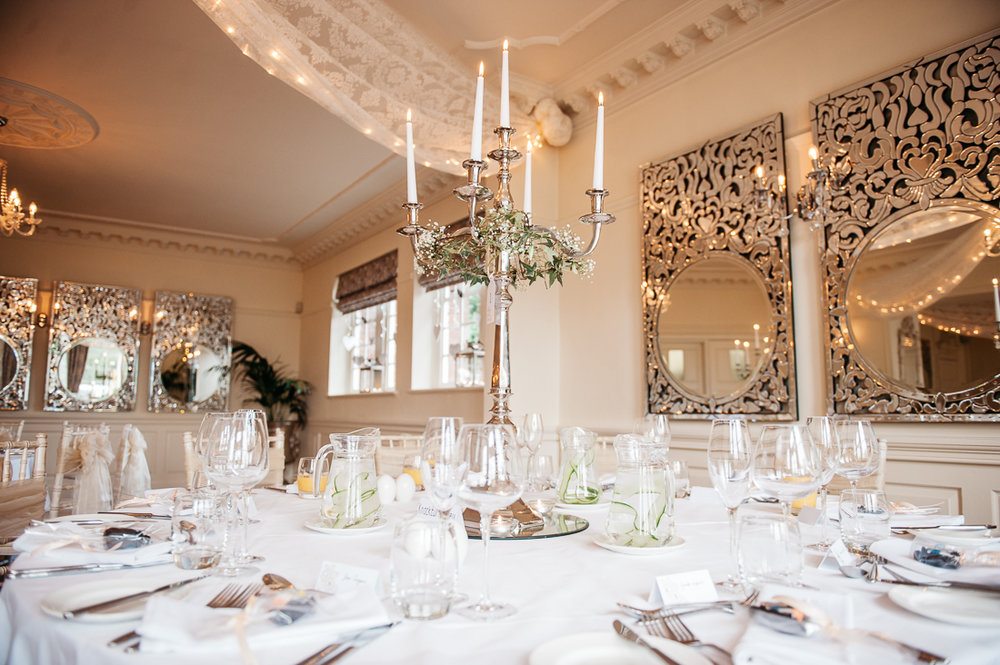 Table set up with candelabras at Eaves Hall