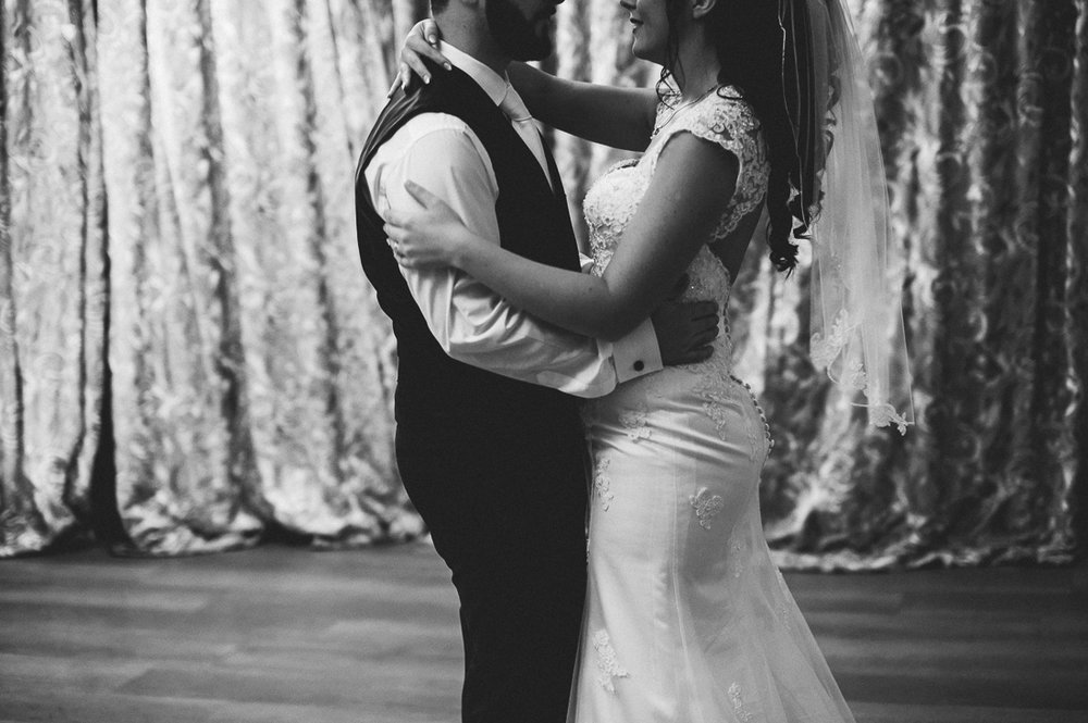 Black and white shot of first dance