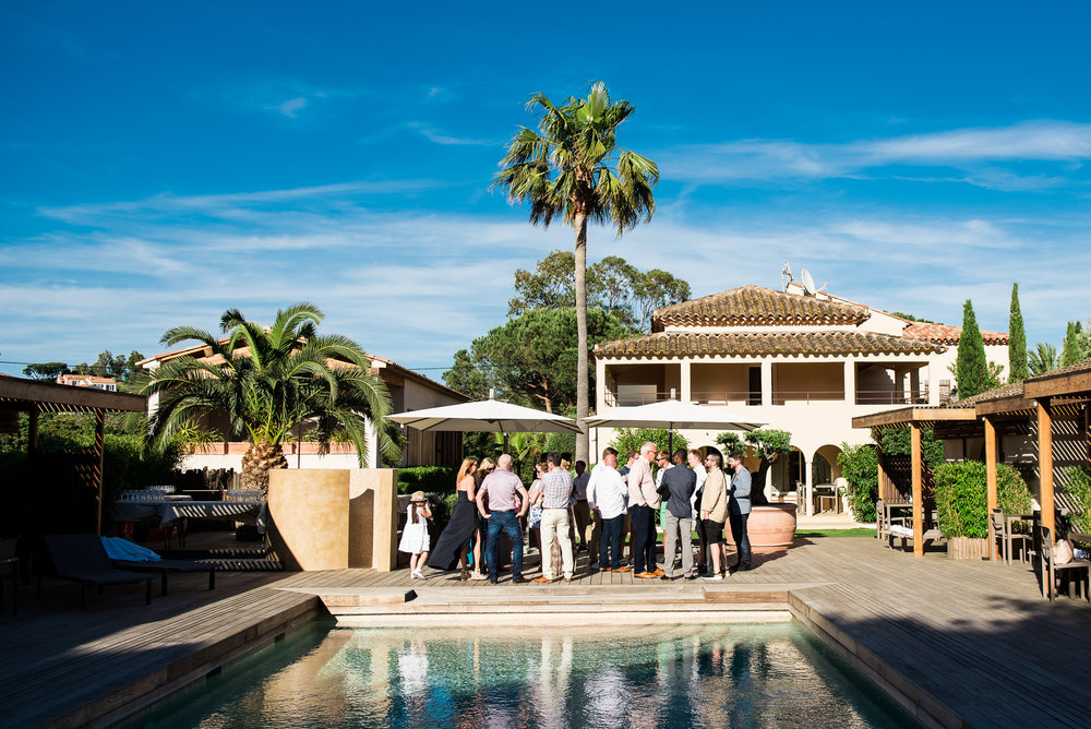 Guest gathered outside at the Villa Cosy in Saint Tropez.