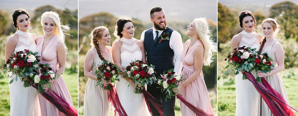 Natural shot of the bridal party laughing outside of the Wellbeing Farm, Bolton.
