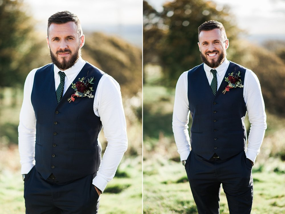 Portrait of the groom with views of Lancashire in the distance. The Wellbeing Farm wedding photography.