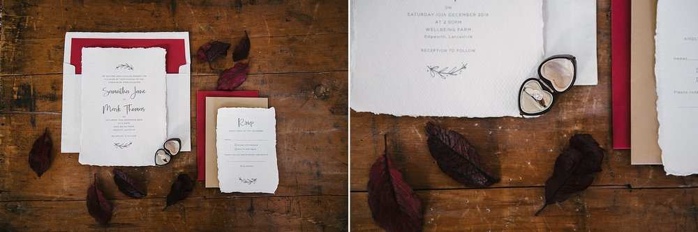 Detailed shot of the wedding stationery. Wellbeing Farm wedding photography