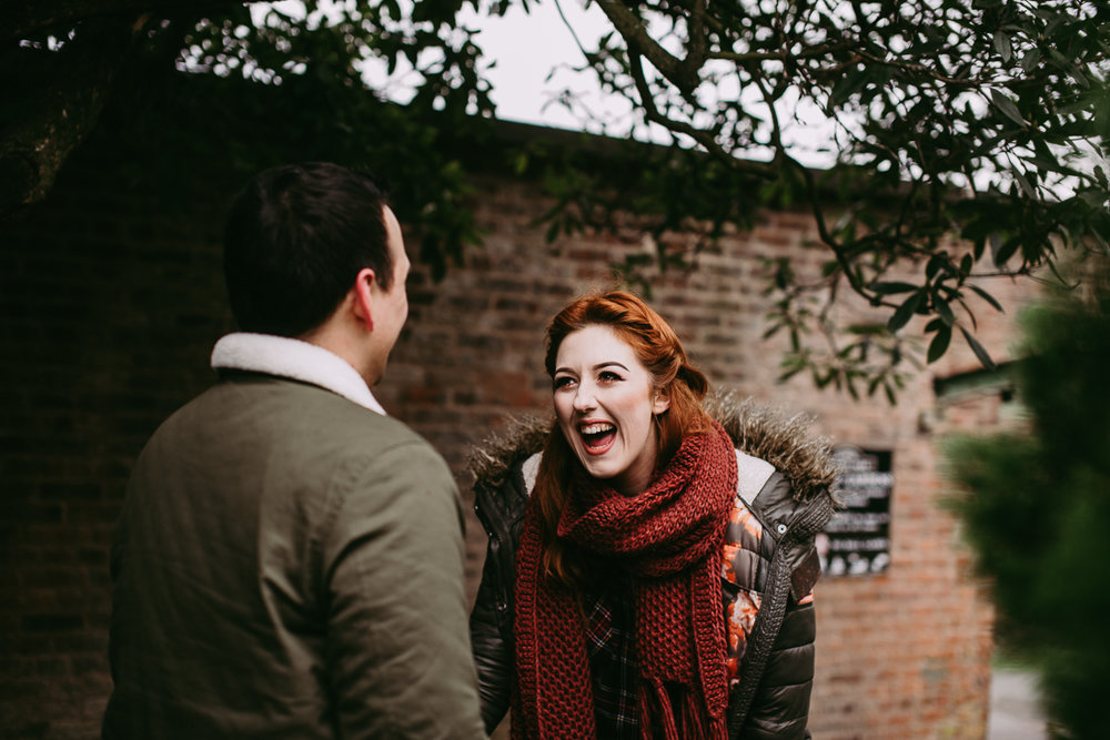 Natural shot of bride-to-be laughing. Haigh Hall photography