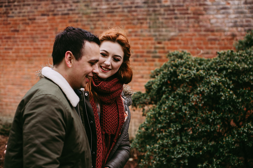 Natural photography of couple together at Haigh Hall, Lancashire