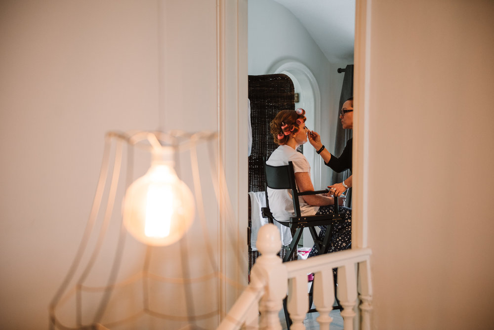 Bride getting ready at the Dreamcatcher. Cornwall wedding photography