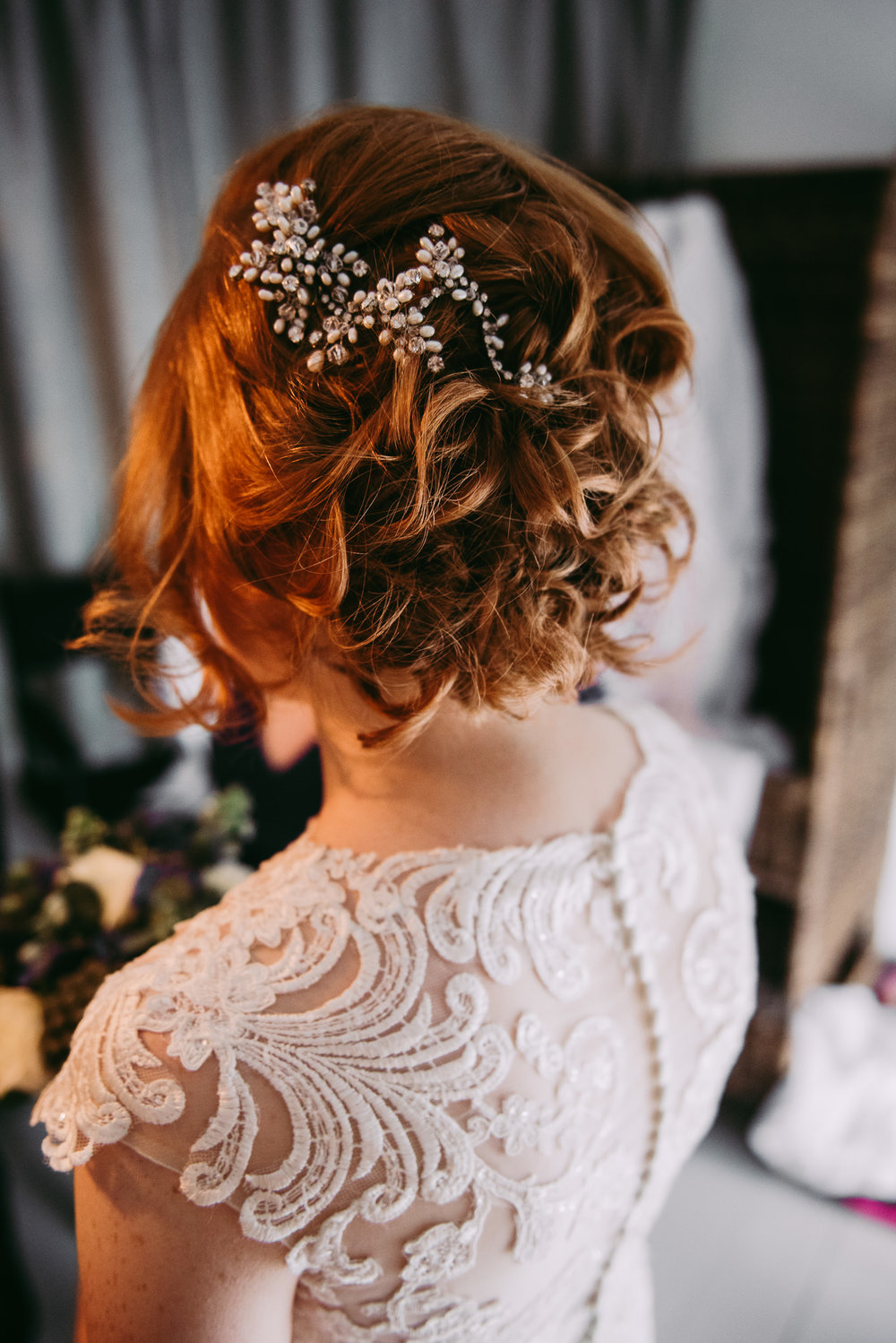Detailed shot of the Brides hair. Cornwall Wedding photography