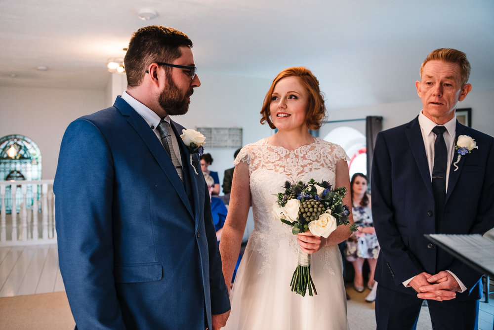 Bride and grooms first look. Cornwall wedding photography