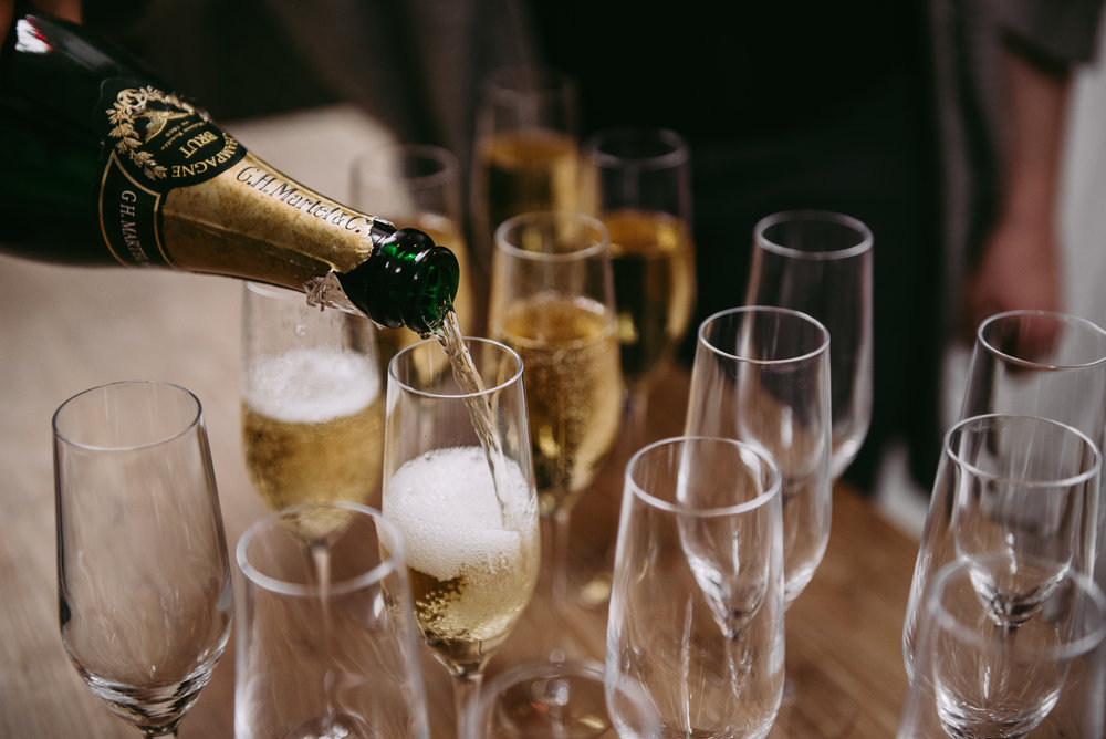 Detailed shot of champagne flutes
