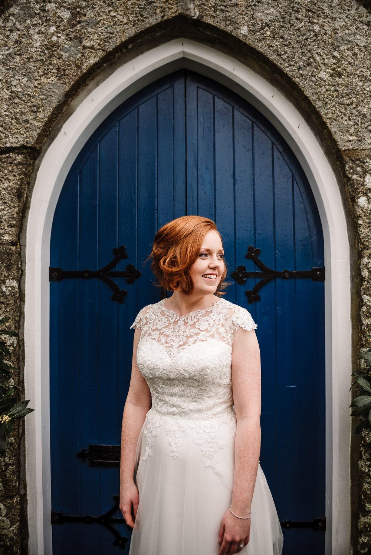 Bride portrait. Cornwall wedding photography.