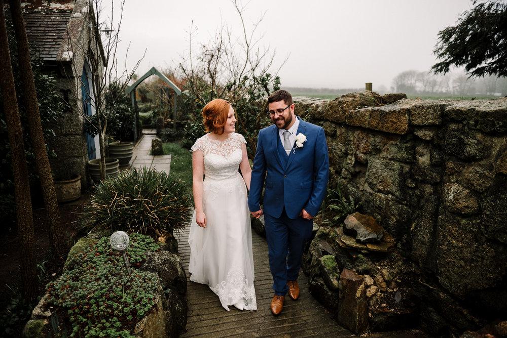 Natural shot of Bride and Groom walking