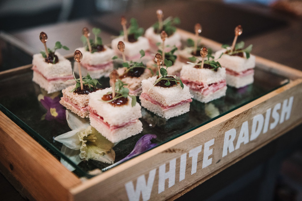 Canapes by White Radish Wedding Caters.
