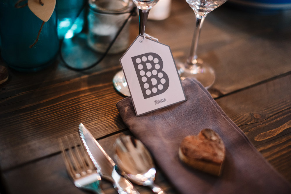 Detailed shot of place setting. Cornwall wedding photography.