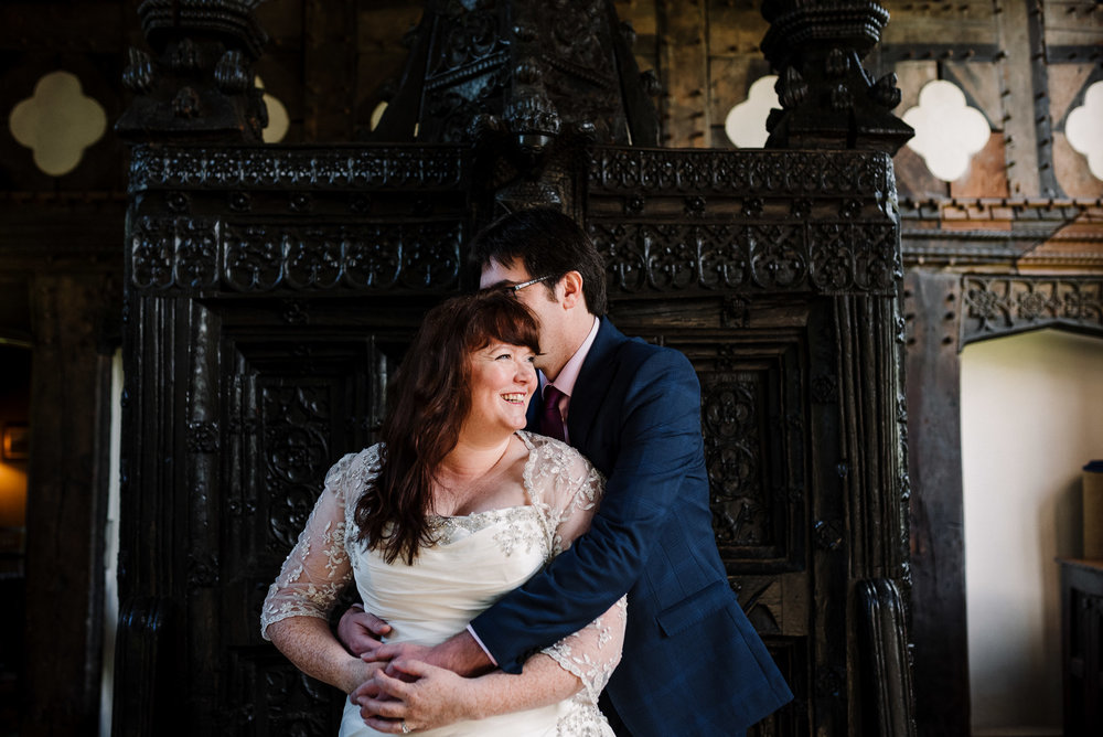 Natural shot of bride and groom at the Great Hall, Rufford.
