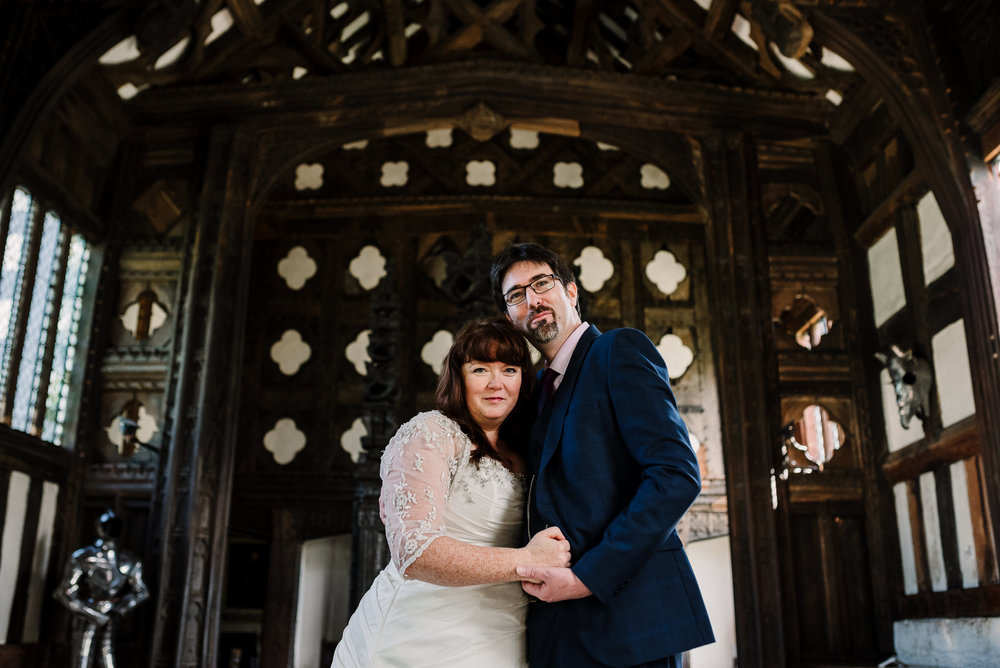 Portrait of bride and groom at Rufford Old Hall, Lancashire.