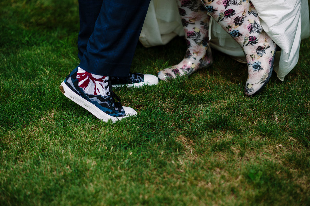 Detailed shot of quirky wedding shoes. Lancashire wedding photography.