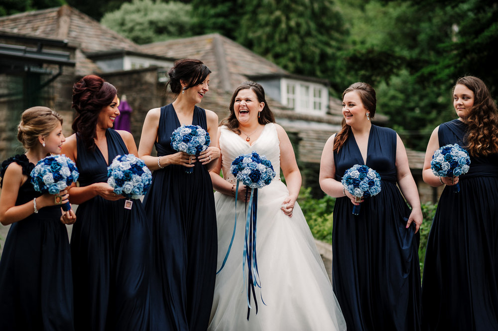 Bridesmaids laughing. Lancashire wedding photography.