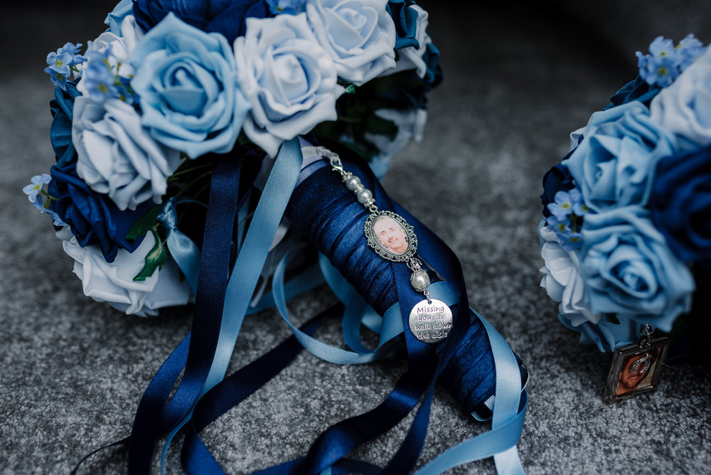Detailed shot of the brides wedding bouquet.