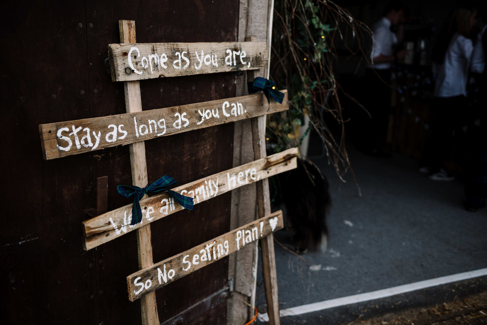 Homemade rustic wedding sign