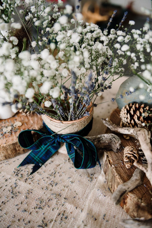 Gypsophila with tartan ribbon. Rustic Farm wedding
