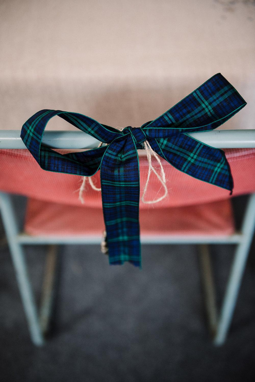 Tartan ribbon on chair