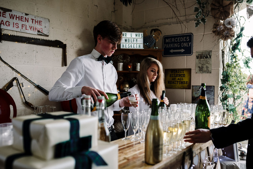 Homemade prosecco bar. Rustic farm wedding, Lake District.