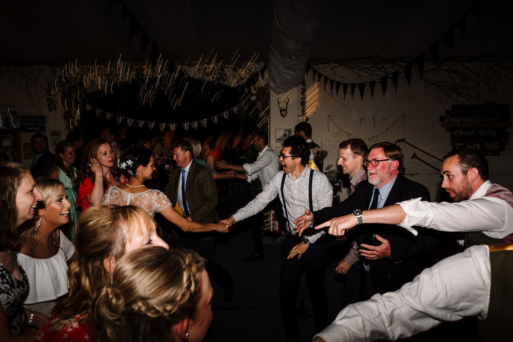 All guest on dance floor. Lake District wedding photography