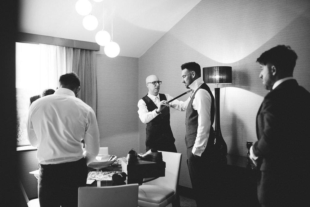 Documentary photo of groomsmen