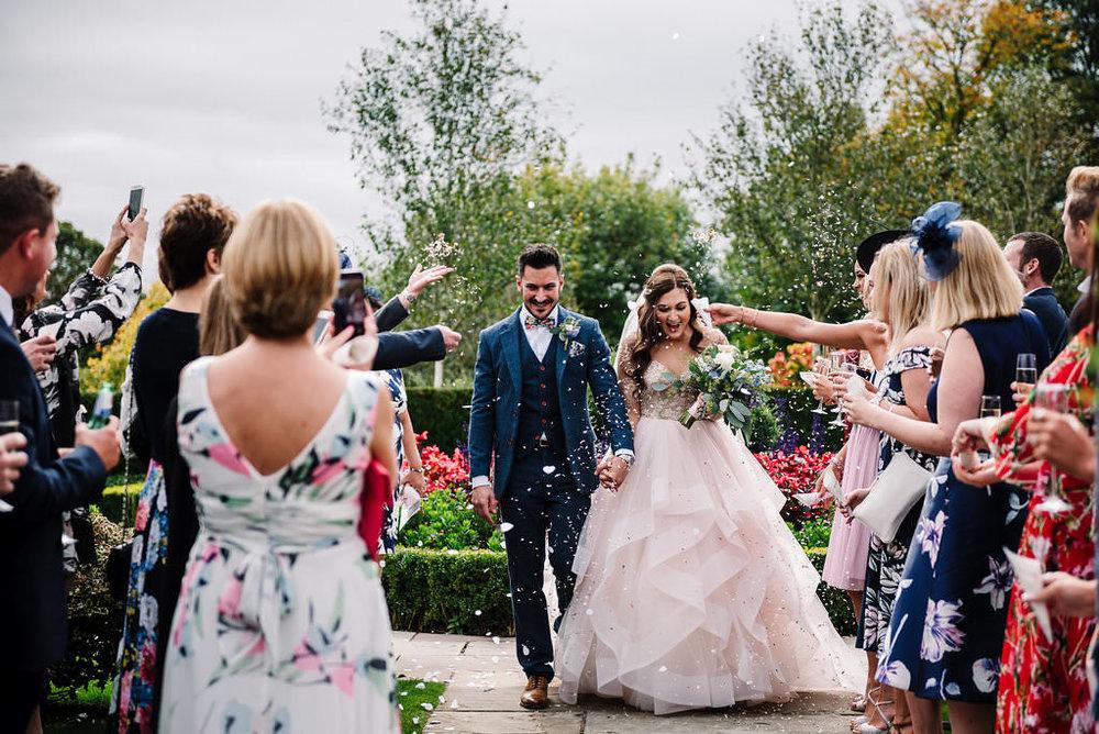 Colourful confetti shot. Lancashire wedding photography