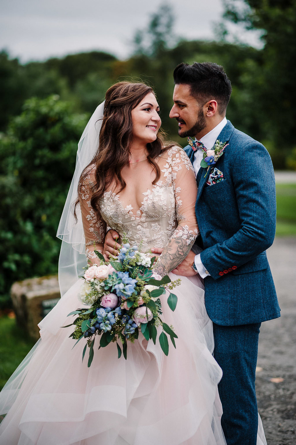 Stylish portrait of bride and groom at Stanley House. Lancashire wedding photography