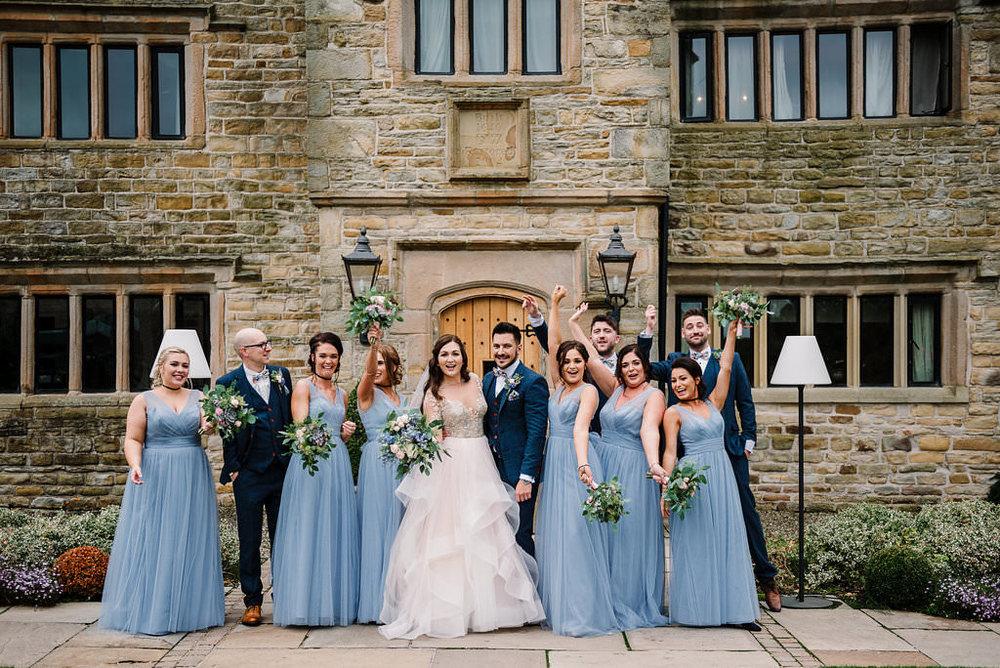 Fun bridal party portrait. Lancashire wedding photography