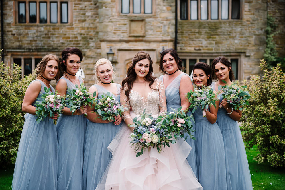 Bride and bridesmaids at Stanley House. Lancashire wedding photography