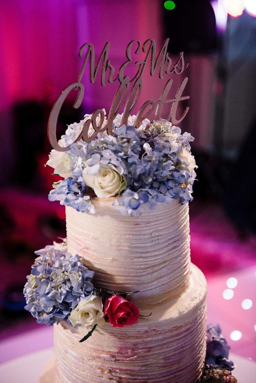 Colourful photo of the wedding cake.