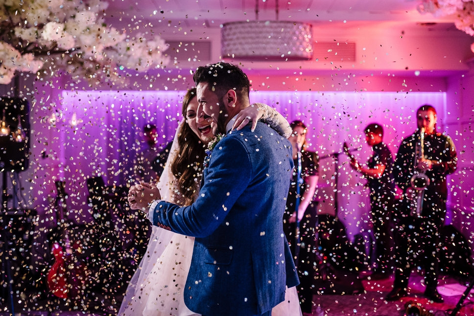 Colourful First dance photograph at Stanley house hotel. Lancashire wedding photography