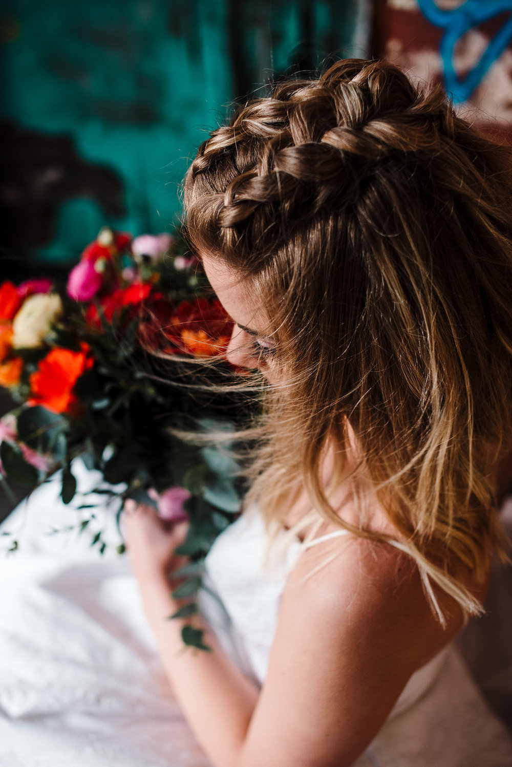 Close up of brides hair braids. Modern bride style
